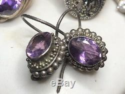Vintage Sterling Silver Lot Of Rings Amethyst Marcasite Earrings