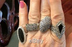 Vintage Sterling Silver Lot Rings Pins Earrings Black Onyx Gemstone Marcasite