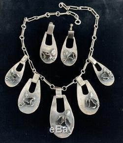 Vintage Sterling Silver MID Century Modern Brutalist Necklace Earrings Set Mod