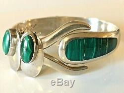 Vintage Sterling Silver Malachite Clamper Cuff Bracelet & Earrings Set 925 Taxco