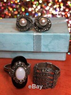 Vintage Sterling Silver Marcasite Opal Ring Designer Signed & Earring Art Deco