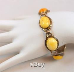 Vintage Sterling Silver & Milk Amber Necklace, Ring, Bracelet & Pierced Earrings