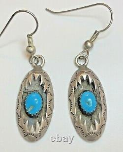 Vintage Sterling Silver Native American Turquoise Earrings Signed C P Navajo