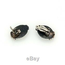 Vintage Sterling Silver Native Navajo White Buffalo Turquoise Womens Earrings