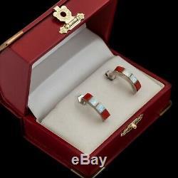 Vintage Sterling Silver Native Zuni Inlay Fire Opal Red Coral Semi Hoop Earrings
