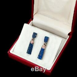 Vintage Sterling Silver Native Zuni Inlay Lapis Lazuli Rose Quartz Drop Earrings