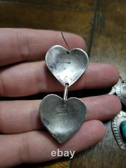 Vintage Sterling Silver Navajo Southwestern Heart Earrings