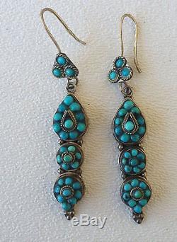Vintage Sterling Silver Navajo Turquoise Earrings