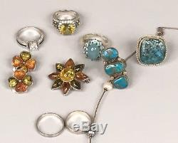 Vintage Sterling Silver Old Pawn Ring Necklace Earring Not Scrap 925 Rings Lot