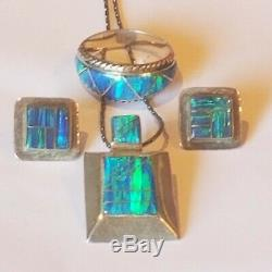 Vintage Sterling Silver Opal Stones Earrings Size 9 and Necklace Set