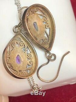 Vintage Sterling Silver Pendant Turquoise Pearl Amethyst & Amethyst Earrings