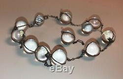 Vintage Sterling Silver Pools Of Light Crystal Quartz Orbs Necklace & Earrings