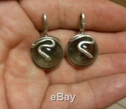 Vintage Sterling Silver Pools Of Light Rock Crystal Snake Earrings Pendants