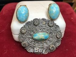 Vintage Sterling Silver Ring Turquoise Pin And Earrings Southwestern