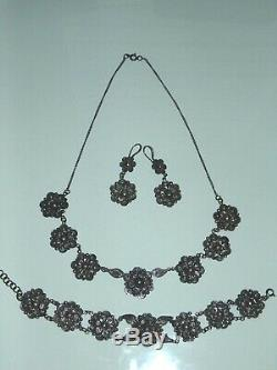 Vintage Sterling Silver SET Necklace Bracelet Earrings All Filigree Flowers 925
