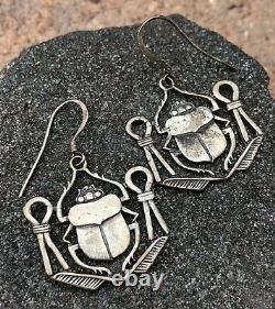 Vintage Sterling Silver & Scarab EGYPTIAN REVIVAL Dangle Earrings
