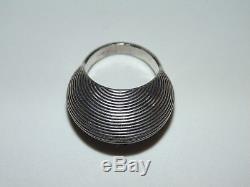 Vintage Sterling Silver Set Ring US Size 7.5 Earrings Modernist Etched Domed 925
