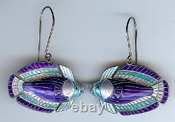 Vintage Sterling Silver & Shades Of Blue Enamel 3d Fish Dangle Pierced Earrings