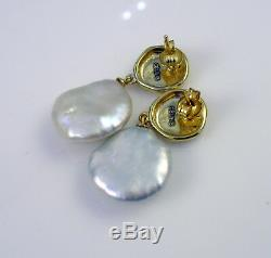 Vintage Sterling Silver Signed CELINE Baroque Pearl Nugget Drop Pierced Earrings