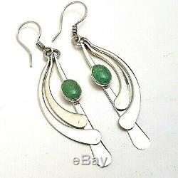 Vintage Sterling Silver Signed Modernist Danish Jade Earrings