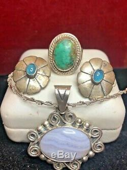 Vintage Sterling Silver Southwestern Pendant Mexico Earrings Turquoise Ring