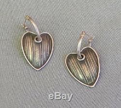 Vintage Sterling Silver Tabra Hoop Textured Heart Drop Dangle Pierced Earrings