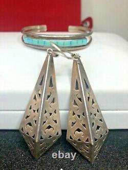 Vintage Sterling Silver Taxco Earrings & Native American Bracelet Turquoise Lot