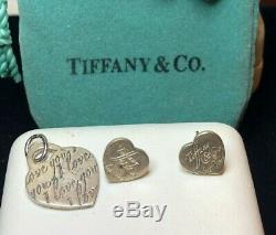 Vintage Sterling Silver Tiffany & Co. Pair Earrings Pendant Charm & Original Bag