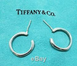 Vintage Sterling Silver Tiffany & Co Square Cushion Hoop Earrings