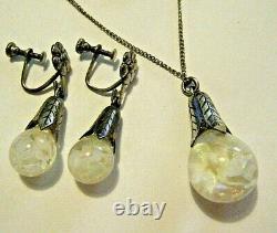 Vintage Sterling Silver Tulip Floating Opals Snow Globes Pendant & Earrings Set