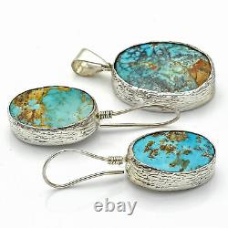 Vintage Sterling Silver Turquoise Southwestern Oval Pendant Earrings Set 15.1 G
