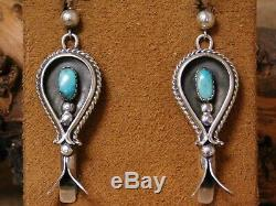 Vintage Sterling Silver Turquoise Squash Blossom Earrings