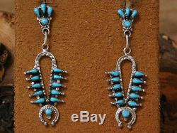 Vintage Sterling Silver Turquoise Squash Blossom Necklace Earrings