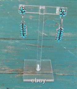 Vintage Sterling Silver Turquoise Zuni Signed V. Halusewa Pierced Earrings