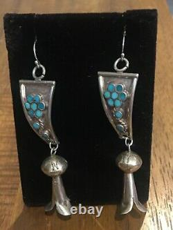 Vintage Sterling Silver Turquoise Zuni Watch Tips Navajo Squash Blossom Earrings