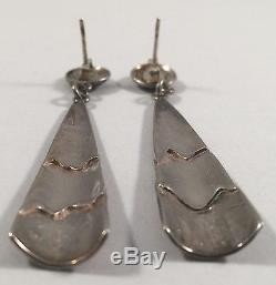 Vintage Sterling Silver Unusual Modernist Abstract Pg Dangle Earrings