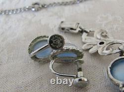 Vintage Sterling Silver WRE Blue Moonstone Art Deco NecklaceBraceletEarrings