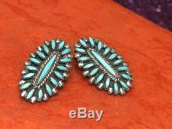 Vintage Sterling Silver Zuni Earrings Artist Signed Sleeping Beauty Turquoise
