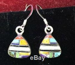 Vintage Sterling Silver Zuni Earrings Designer Signed VC Opal Onyx Turquoise Inl