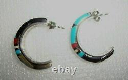 Vintage Sterling Silver Zuni Hoop Earrings Inlay Turquoise Coral Black Onyx MOP
