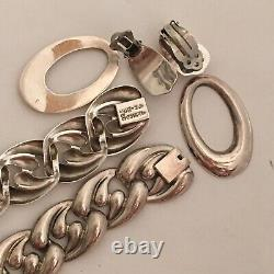 Vintage Sterling Taxco Necklace and Bracelet With Earrings TC-89 925 Silver 150g