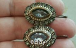Vintage Sterling silver and Aqua Paste Italian Earrings