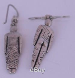 Vintage Sterling silver ethnic man & woman figures dangle Earrings unique