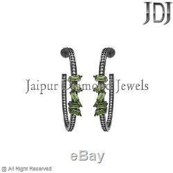 Vintage Style Pave Diamond Peridot Baguettes 925 Sterling Silver Hoop Earrings