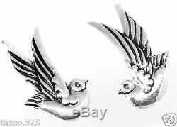 Vintage Style Rodriguez Taxco Mexican 950 Sterling Silver Bird Earrings Mexico