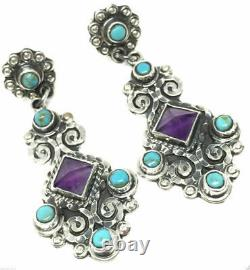 Vintage Style Taxco Mexican Sterling Silver Amethyst Turquoise Earrings Mexico