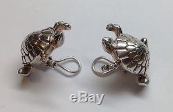 Vintage TIFFANY & CO. Sterling Silver Turtle / Tortoise Clip On Earrings