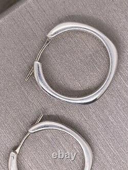 Vintage TIFFANY & Co. Medium Sterling Silver Hoop Earrings 0.75