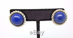 Vintage TIFFANY & Co. Sterling Silver LAPIS Cabochon Pierced EARRINGS Lever Ba