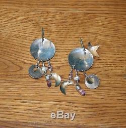 Vintage Tabra Moon & Stars Amethyst Points Pearls Sterling & Gold Hook Earrings